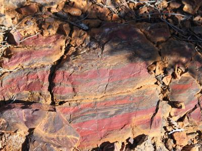Jaspilite BIF rock. The red bands are Jaspilite.