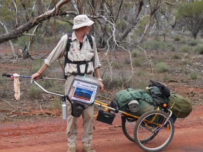 Greg Warburton on Buckland to Bungalbin walk arrives at Helena and Aurora Range Conservation Park, 15 July 2014.