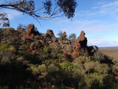 Distinctive outcropping on Helena and Aurora Range (Bungalbin)
